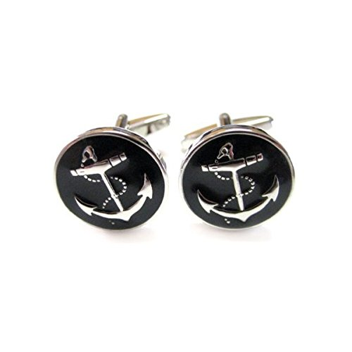 (Kiola Designs Black Anchor Cufflinks)