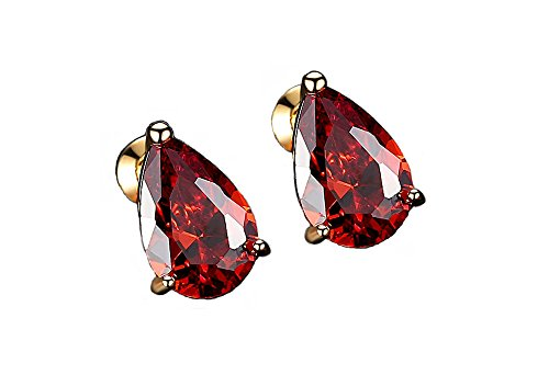 Diamond Teardrop Post Earrings - ailov Cubic Zirconia Teardrop Earrings Pear Shaped Solitaire Studs Gold Plated Bridal Bridesmaid Jewelry (Red)