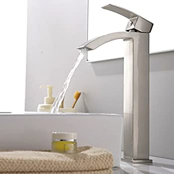 vccucine modern stainless steel brushed nickel tall single handle bathroom vessel sink faucet laundry