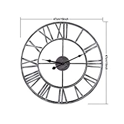 47CM Iron Skeleton Frameless Wall Clock Vintage Hanging Clock Metal Roman Numerals Decorative 3D Clock for Living Room Home Outdoor/Indoor,19inch