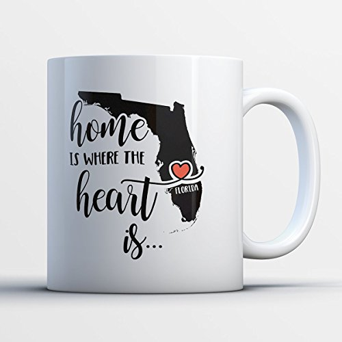 Florida Coffee Mug - Florida Is Where The Heart Is - Adorable 11 oz White Ceramic Tea Cup - Cute Floridian Gifts with Florida Sayings (Halloween Specials Tampa)