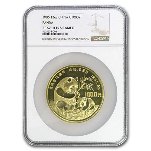 1986 CN China 12 oz Proof Gold Panda 1000 Yuan PF-68 NGC (Box & COA) Gold PF-68 NGC