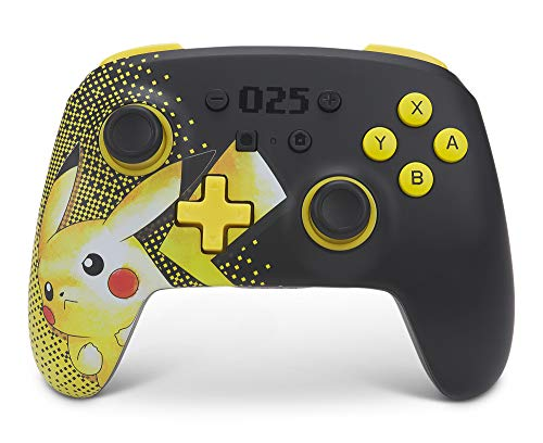 PowerA Enhanced Wireless Controller for Nintendo Switch - Pikachu 025, Nintendo Switch Lite, Gamepad, Game Controller, Bluetooth Controller, Rechargeable, Pikachu - Nintendo Switch