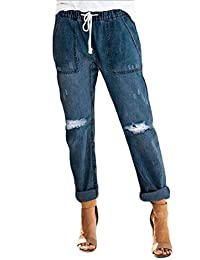 pipigo Womens Loose Fit Casual Drawstring Distressed Ripped Denim Jeans Pants