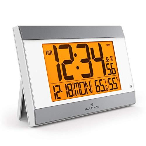 Marathon New Launch CL030052WH-SV Atomic Digital Wall Clock