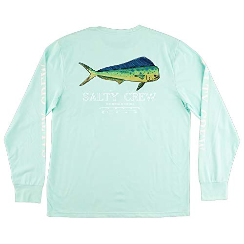 Salty Crew Men's Angry Bull Long Sleeve Tech T-Shirt, Aqua (Aqua/AQA), Large