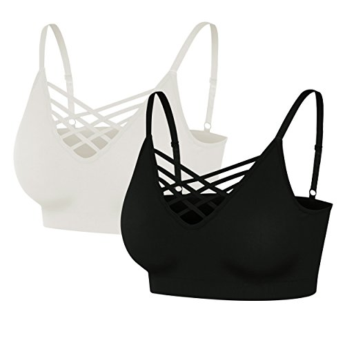 (Nolabel [6661 Womens 2Pack Padded Seamless Crisscross Cutout Strappy Bra Crop Top Cage Bralette Adjustable Strap [BK/WH] LXL)