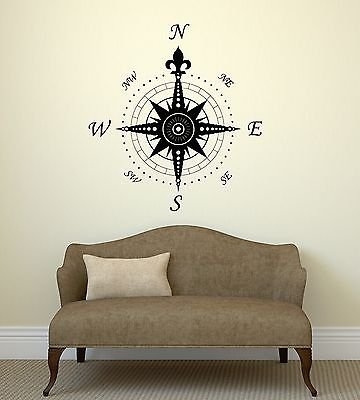 Wall Decal Compass Rose Home Decoration Geography Travel Vinyl Stickers (vs2906)