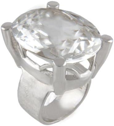 Joyas de diseño skielka roca anillo dorado y plateado forja (plata de ley 925) - Anillo de plata con cristal de roca 28 x 22 mm - montaña anillo cristal