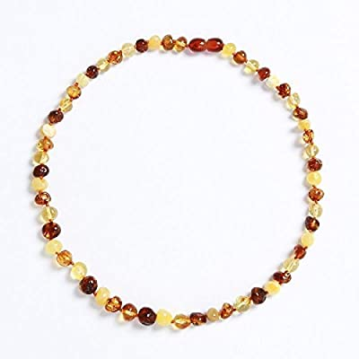 """Certified Natural Baltic Amber Baby Teething Necklace [Color: Mixed Baroque / Length 12.5""""] by V&T Amber"""