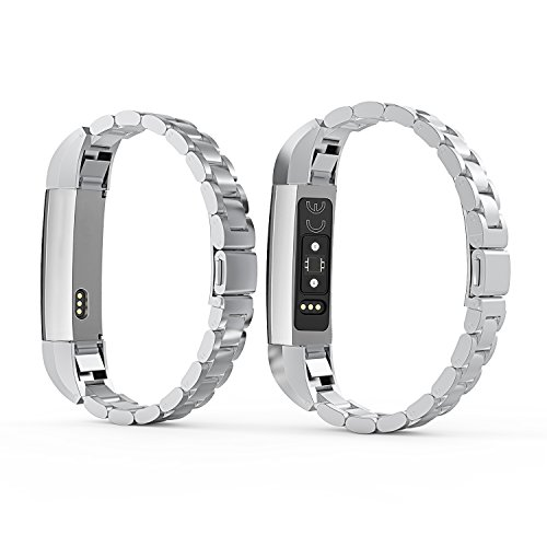 For Fitbit Alta HR Bands Adustable Replacement Steel Stainless Accessory Fitbit Alta Smartwatch Fitness Tracker Small large for Men & Women Alta Wristbans (Silver 1) by WOCOOL (Image #3)