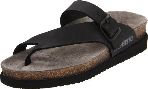 Mephisto Womens Helen Black Leather Sandals 37 EU