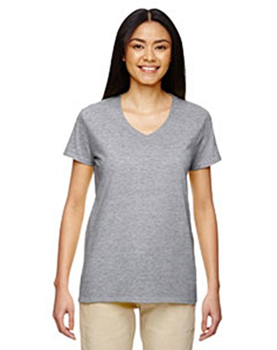 (Gildan Heavy Cotton™ Ladies' 5.3 oz. V-Neck T-Shirt, 2XL, SPORT GREY)