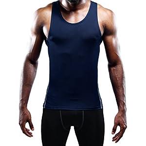 Neleus Men's 3 Pack Compression Shirts Athletic Dry Fit Tank Top,Grey,Navy Blue,Red,L,EUR XL