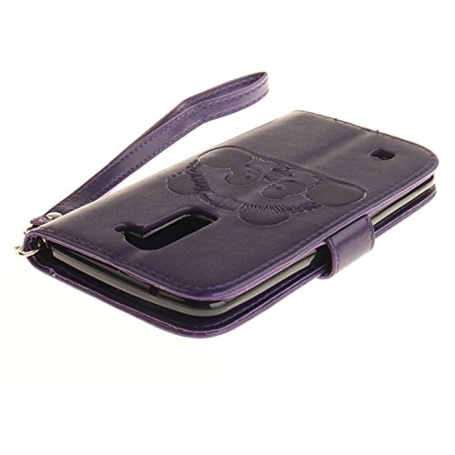 Hülle für LG K10, LG K10 Hülle / Handyhülle / Schutzhülle / Ledertasche / Tasche / Case / Cover / Flip Brieftasche, Anlike Geprägte Panda für LG K10 (5,3 Zoll) Bookstyle Kartenfach Standfunktion Handy lila