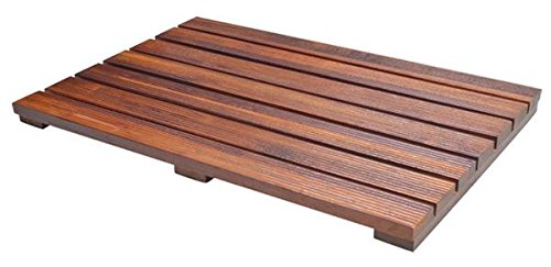 Soothing Styles Luxury Teak Bath Mat with Non Slip Feet & Natural Mildew Resistance for a Hotel Bathmat Inside the Shower or on the Bathroom Floor! (Wide Rug Slat Bamboo)