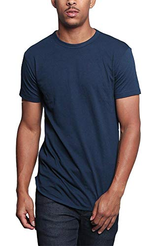 (Victorious Solid Color Long Length Curved Hem T-Shirt TS270 - Navy - 3X-Large -)