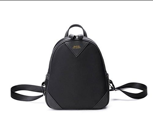 XiaYuan Kontrast Schultern vertikale quadratische Dual-Use-Multi-Layer-Oxford Tuch wasserdichte Reise Mini Rucksack (L * W * H) 25 * 11 * 28CM (Farbe : Beige) Schwarz CPeQaiQ