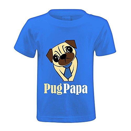snowl-pug-papa-youth-crew-neck-customized-t-shirt-blue