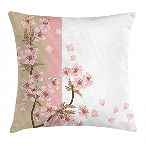 Ambesonne Japanese Throw Pillow Cushion Cover, Romantic Sakura Blooms Flowers Petals Spring Wind Eastern Nature Theme, Decorative Square Accent Pillow Case, 16