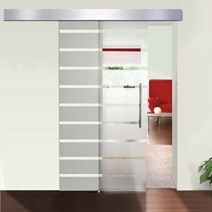 Puerta de cristal Correderas de cristal para puerta cubierta de aluminio de rayas 205 x 77,5 cm: Amazon.es: Bricolaje y herramientas