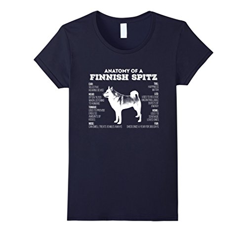 Womens Anatomy of A Finnish Spitz T-shirt Large Navy
