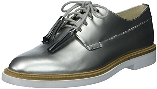 Kenneth Cole New York Womens Annie Menswear Styled Oxford Flat Silver het82j2xa