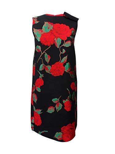 - Tahari ASL Women's Floral Jacquard Flyaway Shift Dress (2, Black/Crimson/Green)