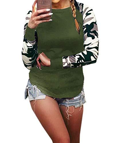 Primavera e Autunno Donne Tops Casual Rotondo Collo Felpe Maglione T-Shirt Pullover Jungen Moda Militari Maglie a Manica Lunga Jumper Maglietta Bluse Army Green