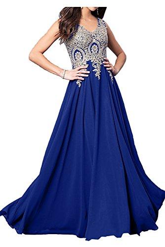 Spitze Ivydressing Royalblau Chiffon Abendkleider Damen Hochwertig Ballkleider Promkleid Lang qqxpAEwS