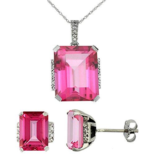 Or blanc 9Ct Topaze naturel octogone Rose Boucles d'oreilles et pendentif Set Accents de diamant