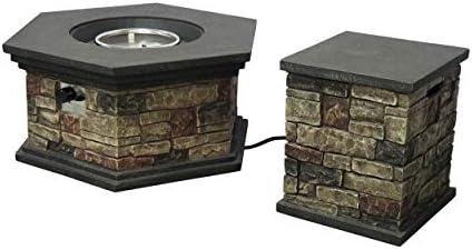 Christopher Knight Home Lillian Outdoor 32 Octagonal Light Weight Concrete Fire Pit - 40,000 BTU, Mixed Brown