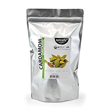 Spicely Organic Cardamom Green Whole Pods - 1 LB Bulk / Wholesale
