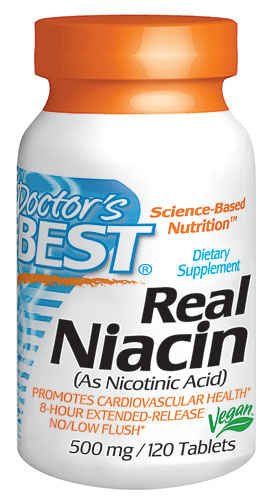 Doctor's Best Real Niacin (Extended Release) (500mg), 120-Count (Pack of 3) by Doctor's Best