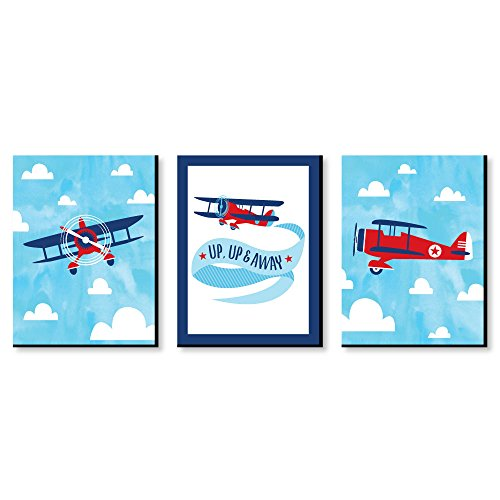 (Taking Flight - Airplane - Vintage Plane Baby Boy Nursery Wall Art and Kids Room Decorations - 7.5 x 10 inches - Set of 3 Prints)