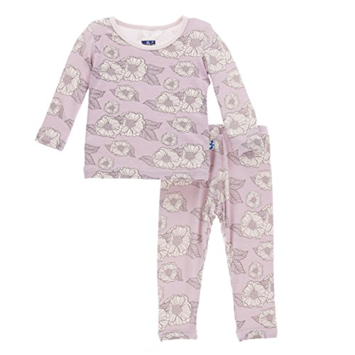 KicKee Pants Little Girls Print Long Sleeve Pajama Set, Sweet Pea Poppies, Girls 5 Years