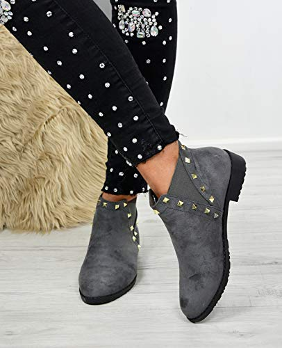 Chelsea Boots Sizes Low Rock Womens Ladies Ankle Grey Studs Booties Heel Shoes xnWc0WBv6