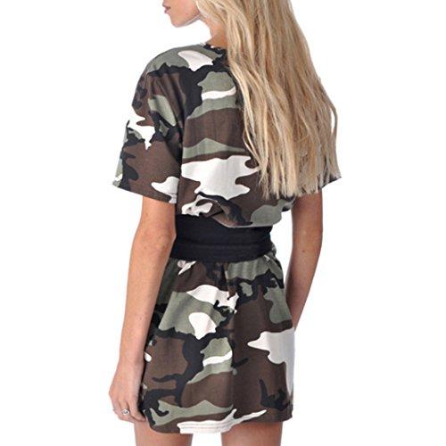 MIOIM Damen Tshirt kleid Kurz Camouflage Sommerkleider Kurzarm mit ...