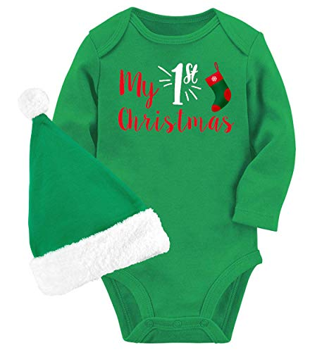 Hilarious Humor Pattern Bodysuit Long-Sleeve Rompers Lovely Saying About My 1st Christmas Festive New Year Outfits Baby Cute One Piece Clothes For New Mom Pregnancy Announcement Gender Revel Party (About Christmas Sayings)