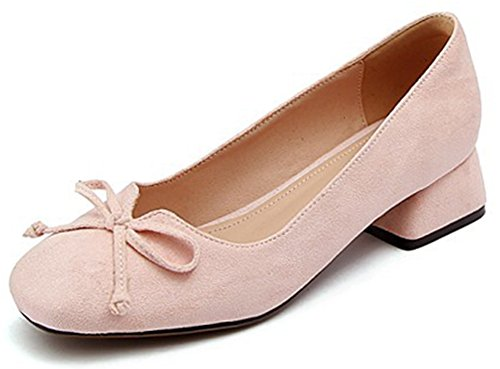 IDIFU Womens Comfy Slip On Low Cut Low Top Square Toe Faux Suede Mid Block Heeled Pumps Shoes Pink1 O2mjT