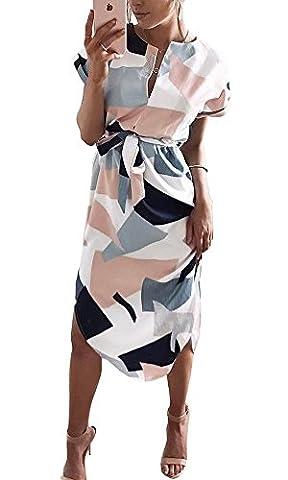 Coutgo Woman Geometric Pattern Print elasticated design and waist tie Long Dress (L, Multicolor) (Dresses With Geometric Pattern)