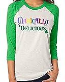Magically Delicious Shirt Women Irish Green St. Patricks Day 3/4 Sleeve Raglan Baseball Blouse Tee Size S (Green)