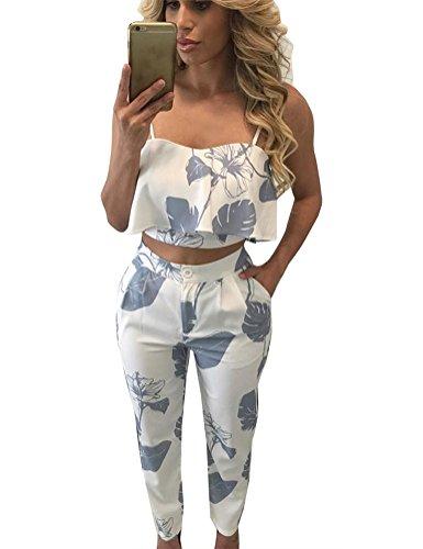 FANCYINN Women 2 Pieces Jumpsuit Romper Spaghetti Strap Top  Long Pants Casual Style M