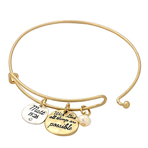 Rosemarie Collections Women's Religious Charm Bracelet with God All Things are Possible