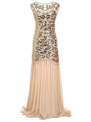 Women 's 1920s Sequin Maxi Long Great Gatsby Evening Prom Party Dress