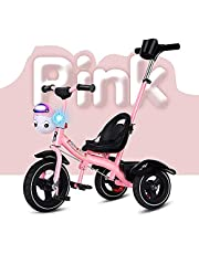 Trike 2 in 1 Kids Childen Trike Tricycle Bicycle with Music Front Basket&Removable Parents Push Handle Bar,Titanium Empty Wheel 3 Wheel Pedal Bike,for 2-6Years Old