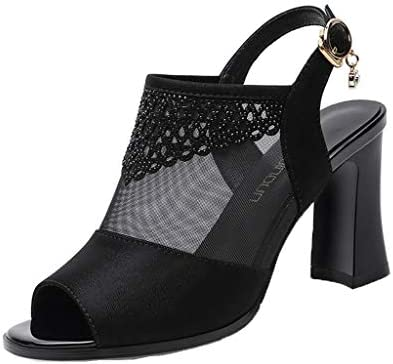 Women Summer Casual Peep Toe Heeled Sandals Mesh See Through