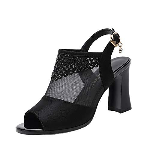 ℱLOVESOOℱ Women High Heels Sandals Ladies Dress Pump - Fashion Fish Mouth Thick Buckle Strap Platform Slip On Shoe Black ()