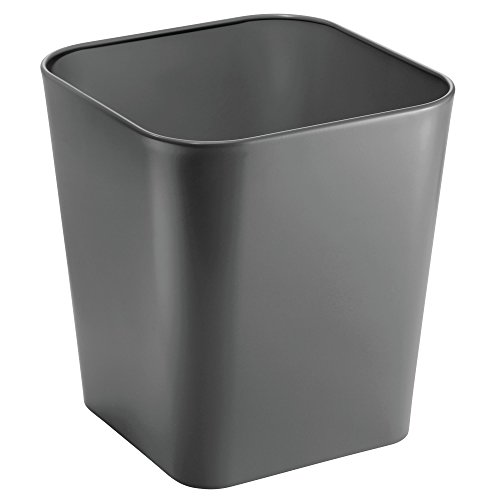 mDesign Metal Square Small Trash Can Wastebasket, Garbage Container Bin for Bathrooms, Powder Rooms, Kitchens, Home Offices - Solid Steel Construction in Dark Gray Slate (Square Basket Waste)