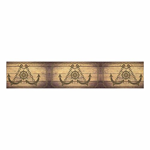 InterestPrint Compass Nautical Anchor Wheel On Wood Table Runner Cotton Linen Home Decor for Wedding Party Banquet Decoration 16 x 72 Inches by InterestPrint (Image #1)